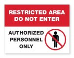 Restricted Area Plastic Sign COVID-19 Safety Signage