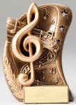 Curve Action Series Sculpted Antique Gold Music Resin Trophy  Curve Action Series Sculpted Antique Gold Resin Tr