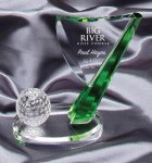 Crystal Golf Flag Green Optical Crystal Awards