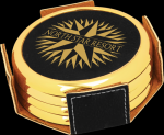 Black Leatherette Round Coaster Set with Gold Edge Sales Awards