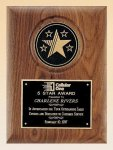 American Walnut Plaque with 5 Star Medallion Sales Awards