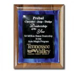 Blue Metallic Fusion Walnut Plaques